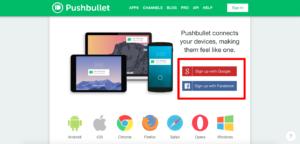 Pushbullet(プッシュバレット)パソコンのログイン画面